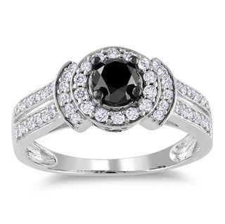 Miadora 14k White Gold 1ct TDW Black and White Diamond Halo Ring (G H
