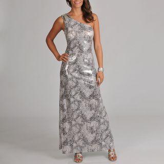 Cachet Womens One Shoulder All Over Sequin Snake Skin Printed Long