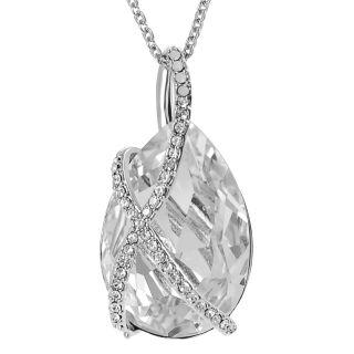 Journee Collection Silvertone Large Swarovski Crystal Drop Necklace