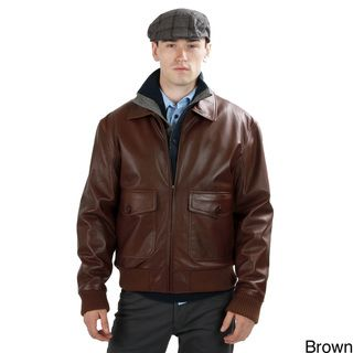United Face Mens Lambskin Leather Bomber Jacket
