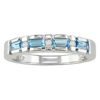 14k White Gold .04ct Diamond and Blue Topaz Ring