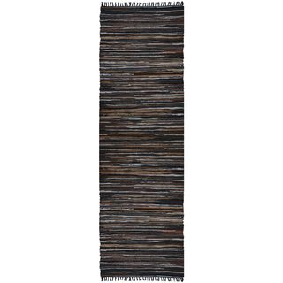 Hand Woven Matador Brown Stripe Leather Rug (2.5x12)
