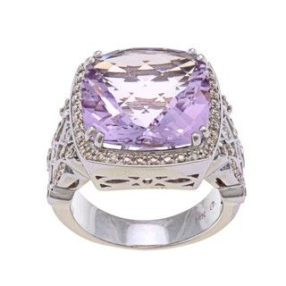 Beverly Hills Charm 14k White Gold Amethyst and 5/8ct TDW Diamond Ring