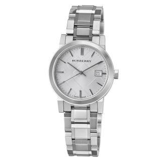 Burberry Womens Large Check Silver Dial Stainless Steel Watch