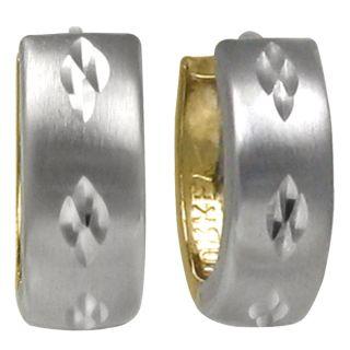14k Gold Two Tone Mini Hoop Earrings