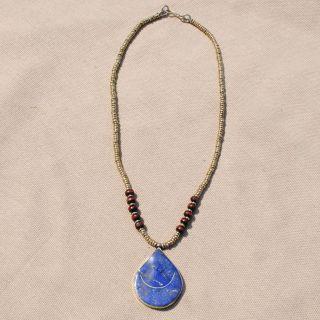 Hand made Blue Lapis Lazuli Teardrop Pendant Necklace (Afghanistan