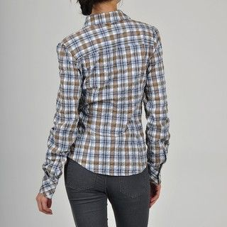 Apart Womens Light Blue/ Brown Plaid RuffleTux Shirt