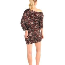 Stanzino Womens Black and Red Off the Shoulder Dress