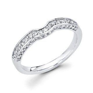 Womens Diamond Wedding Band 14k White Gold Anniversary