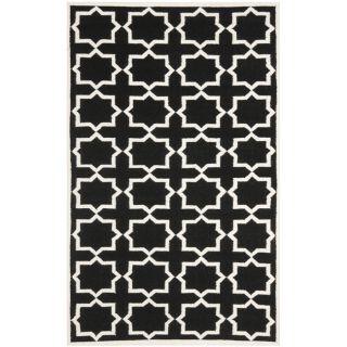 Moroccan Dhurrie Black/ Ivory Wool Rug (8 x 10)