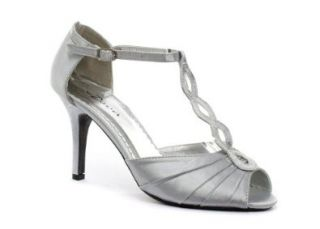 Deva Satin T Bar Peep Toe Damen Schuhe, Silber Schuhe
