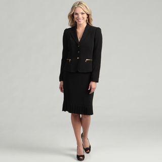 Tahari Womens Black 3 button Skirt Suit