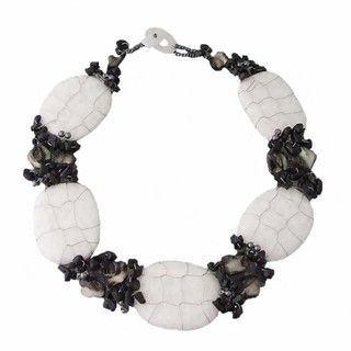 Onyx, Sea Shells and Crysal Granie Necklace (Philippines