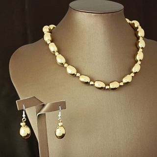 Handcrafted Shiny Tumbaga Oval Beads Necklace and Earrings Set (Mexico