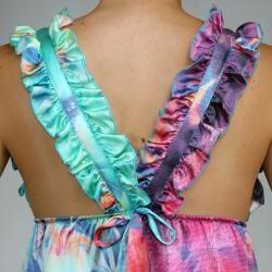 Bilingual Clothing Womens Pink/Green Silk Watercolor Ruffled V Neck