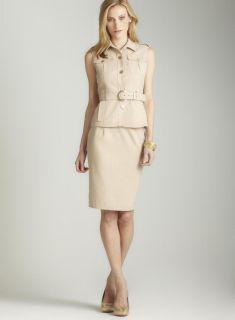 Calvin Klein Button down skirt suit w/ belt