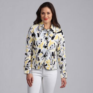 Live A Little Womens Geometrci Printed Lightweight Jacket