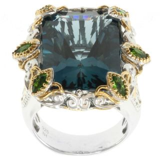 Michael Valitutti Two tone London Blue Topaz and Chrome Diopside Ring