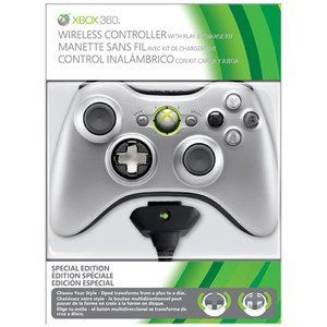 Xbox 360   Controller Wireless Silber Special Edition (inkl. Play