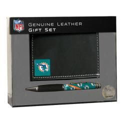 Miami Dolphins Tri fold Wallet and Pen Gift Set