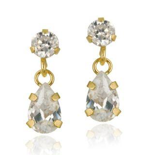 Icz Stonez 10k Yellow Gold Cubic Zirconia Teardrop Dangle Earrings