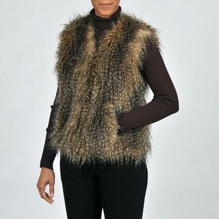 Via Spiga Womens Chic Faux Fur Vest