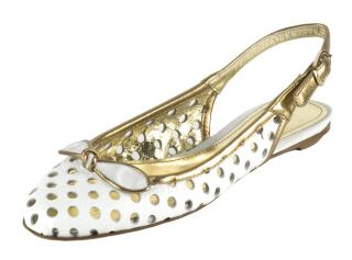 Dolce & Gabbana White Leather Slingback Flats