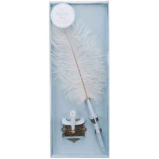 Darice White Victoria Lynn Feather Pen Set