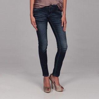Deja Bleu Womens Dark Denim Skinny Jeans