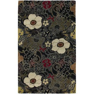 Hand tufted Black Floral New Zealand Wool Rug (8 x 10)