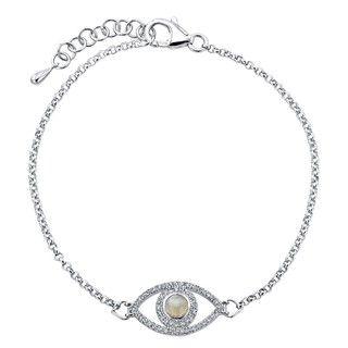 Sterling Silver Moonstone and 1/4ct TDW Diamond Evil Eye Bracelet (J K