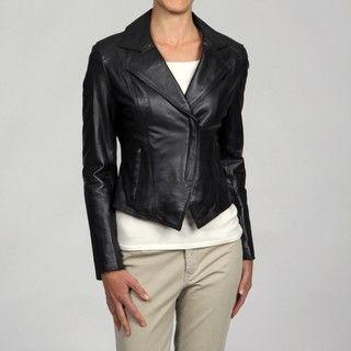 Tahari Womens Black Leather Cropped Asymmetrical Zip Blazer