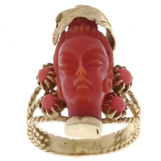 14k Yellow Gold Carved Coral Ring
