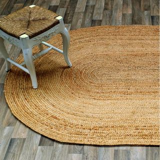 Alexa Eco Natural Fiber Braided Reversible Jute Rug (9 x 12 Oval