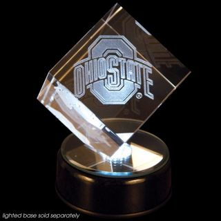 Ohio State Prismatic Crystal Logo Cube with Base