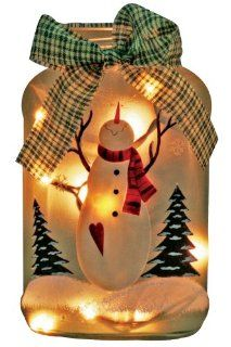 Lighted Christmas Holiday Jar Hand Painted Snowman Frosted
