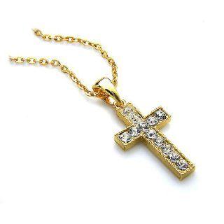 Silvity Goldenes Kreuz mit Diamant Strass   dazu eine Kette Gratis. 39