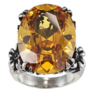 Ed Hardy Stainless Steel Flower Cubic Zirconia Center Ring