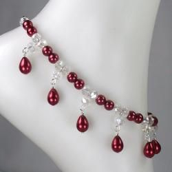 Cherry Red Pearl Wedding Jewelry Set