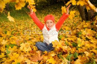 Beautiful little girl with autumn leaves  Stock Photo © Andrejs