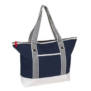 Trendige Strandtasche/Weekender/Shopper/Badetasche blau/weiß marine
