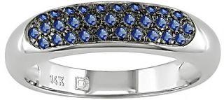 14k White Gold Blue Sapphire Anniversary Ring