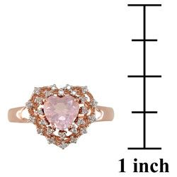 14k Pink Gold 1/10ct TDW Diamond Rose Quartz Ring