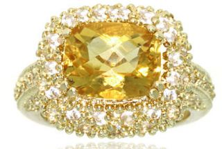 Glitzy Rocks 18k Yellow Gold over Sterling Silver Golden Citrine Ring