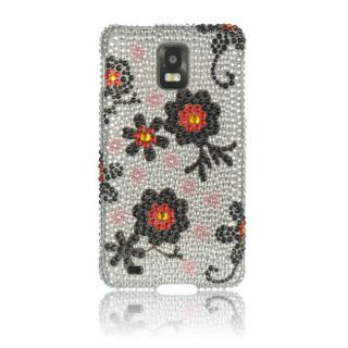 Luxmo black daisy rubber coated case for samsung conquer 4g d600