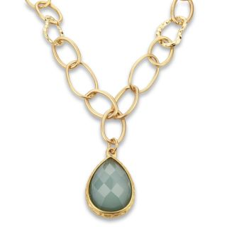 ELYA Designs Goldtone Large Link Green Resin Necklace