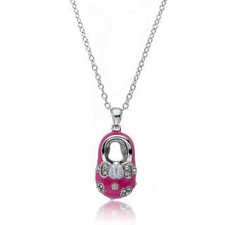 Little Miss Twin Stars Silvertone Crystal and Pink Enamel Baby Shoe