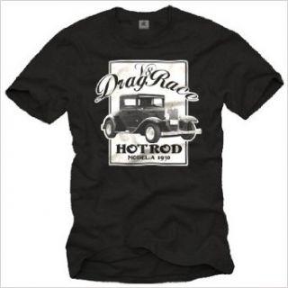 Rockabilly Hot Rod T Shirt DRAG RACE V8 schwarz für Herren Größe S