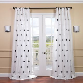 Mirror White Embroidered Faux Silk 120 inch Curtain Panel