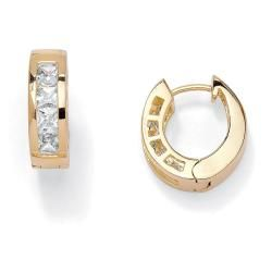 Ultimate CZ 14k Gold Overlay Cubic Zirconia Hoop Earrings